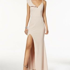 XSCAPE One Shoulder Ruffle Sleeve Front Slit Gown